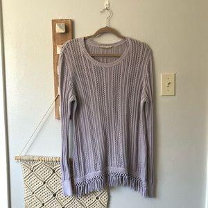 Soft Surroundings Light Purple Fringe Sweater